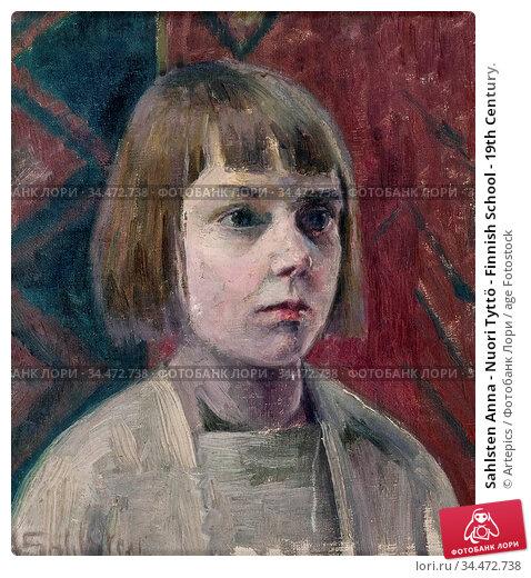 Sahlsten Anna - Nuori Tyttö - Finnish School - 19th Century. Редакционное фото, фотограф Artepics / age Fotostock / Фотобанк Лори