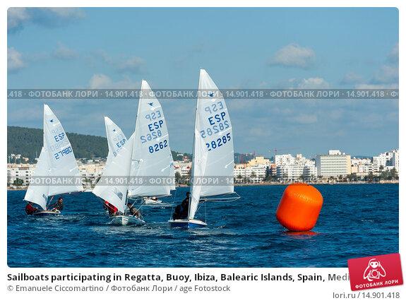 Купить «Sailboats participating in Regatta, Buoy, Ibiza, Balearic Islands, Spain, Mediterranean, Europe.», фото № 14901418, снято 22 июня 2018 г. (c) age Fotostock / Фотобанк Лори