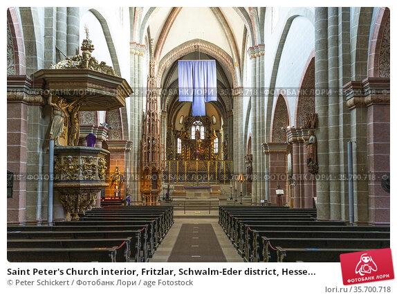 Saint Peter's Church interior, Fritzlar, Schwalm-Eder district, Hesse... Стоковое фото, фотограф Peter Schickert / age Fotostock / Фотобанк Лори