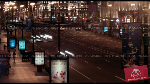 Saint-Petersburg, Russia -July 5, 2017, night time-lapse of Nevsky Prospekt. Редакционное видео, видеограф Константин Шишкин / Фотобанк Лори