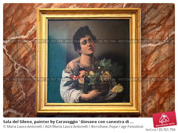 Sala del Sileno, painter by Caravaggio ' Giovane con canestra di ... Редакционное фото, фотограф Maria Laura Antonelli / AGF/Maria Laura Antonelli / age Fotostock / Фотобанк Лори