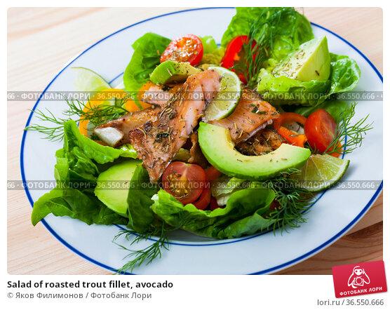 Salad of roasted trout fillet, avocado. Стоковое фото, фотограф Яков Филимонов / Фотобанк Лори