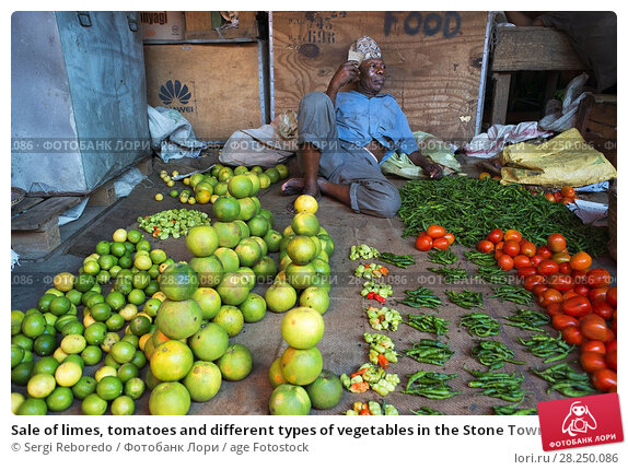 Купить «Sale of limes, tomatoes and different types of vegetables in the Stone Town market, Zanzibar, Tanzania.», фото № 28250086, снято 10 января 2018 г. (c) age Fotostock / Фотобанк Лори