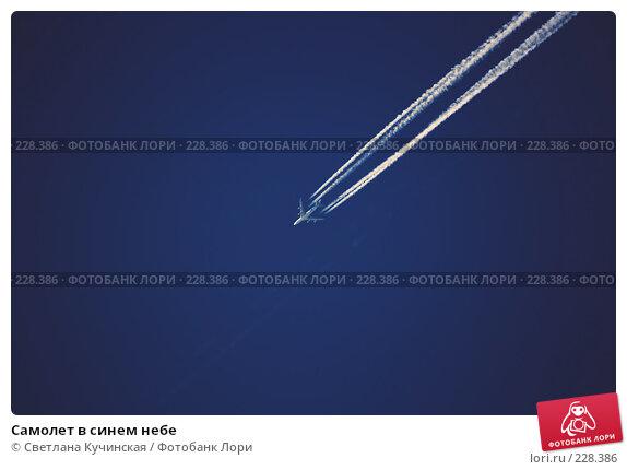 Купить «Самолет в синем небе», фото № 228386, снято 24 марта 2018 г. (c) Светлана Кучинская / Фотобанк Лори
