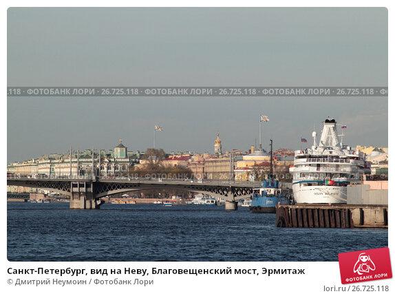 Купить «Санкт-Петербург, вид на Неву, Благовещенский мост, Эрмитаж», эксклюзивное фото № 26725118, снято 22 мая 2017 г. (c) Дмитрий Неумоин / Фотобанк Лори