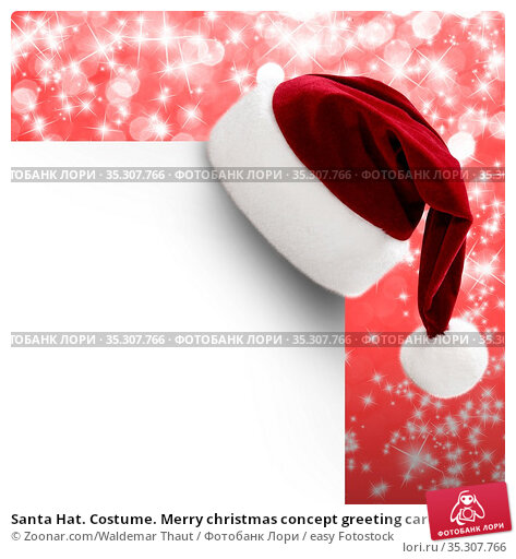 Santa Hat. Costume. Merry christmas concept greeting card. Стоковое фото, фотограф Zoonar.com/Waldemar Thaut / easy Fotostock / Фотобанк Лори