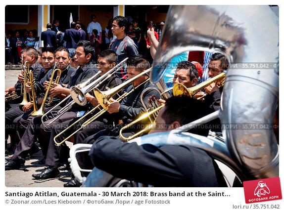 Santiago Atitlan, Guatemala - 30 March 2018: Brass band at the Saint... Стоковое фото, фотограф Zoonar.com/Loes Kieboom / age Fotostock / Фотобанк Лори