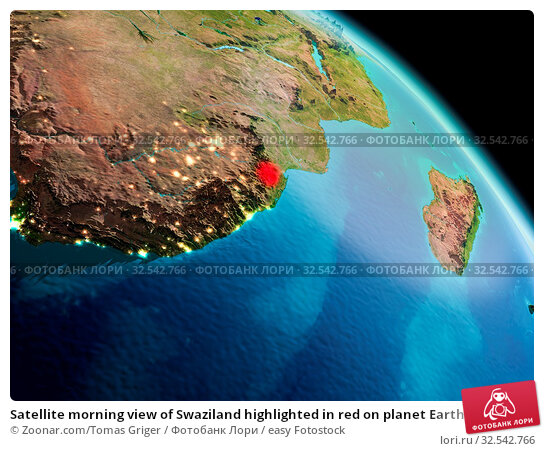 Купить «Satellite morning view of Swaziland highlighted in red on planet Earth. 3D illustration. Elements of this image furnished by NASA.», фото № 32542766, снято 10 декабря 2019 г. (c) easy Fotostock / Фотобанк Лори