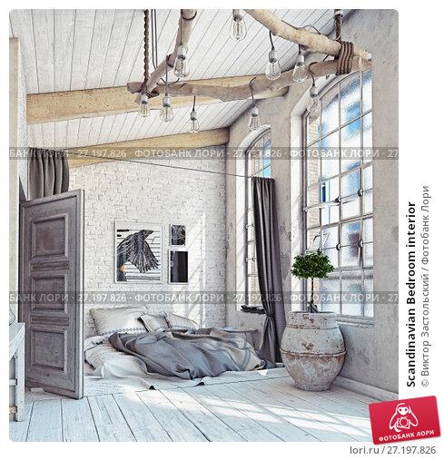 Купить «Scandinavian Bedroom interior», фото № 27197826, снято 18 ноября 2017 г. (c) Виктор Застольский / Фотобанк Лори