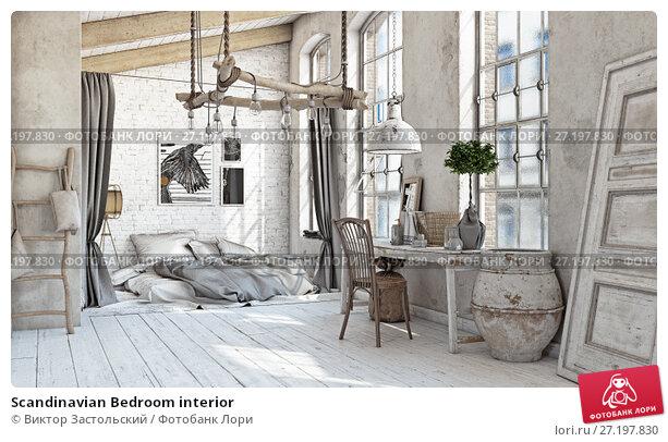 Купить «Scandinavian Bedroom interior», фото № 27197830, снято 11 декабря 2018 г. (c) Виктор Застольский / Фотобанк Лори