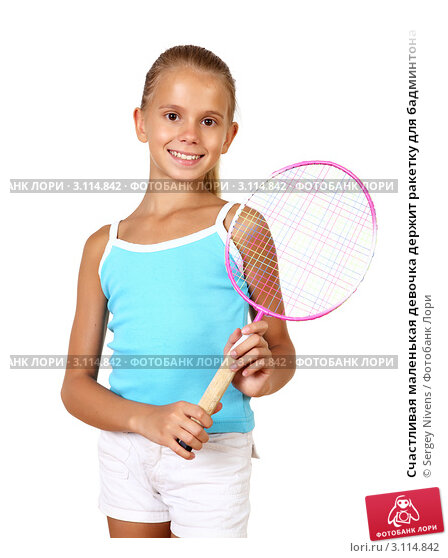 Купить «Счастливая маленькая девочка держит ракетку для бадминтона», фото № 3114842, снято 23 июля 2019 г. (c) Sergey Nivens / Фотобанк Лори