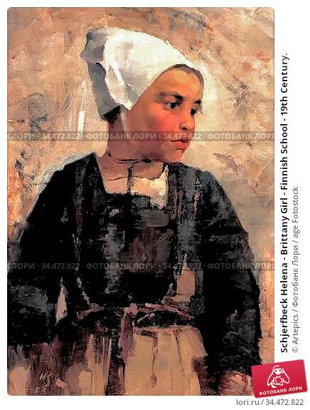 Schjerfbeck Helena - Brittany Girl - Finnish School - 19th Century. Редакционное фото, фотограф Artepics / age Fotostock / Фотобанк Лори