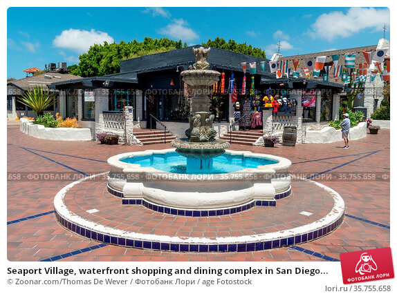 Seaport Village, waterfront shopping and dining complex in San Diego... Стоковое фото, фотограф Zoonar.com/Thomas De Wever / age Fotostock / Фотобанк Лори