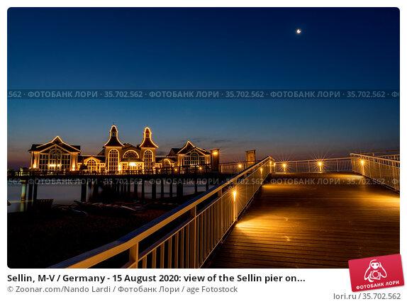 Sellin, M-V / Germany - 15 August 2020: view of the Sellin pier on... Стоковое фото, фотограф Zoonar.com/Nando Lardi / age Fotostock / Фотобанк Лори