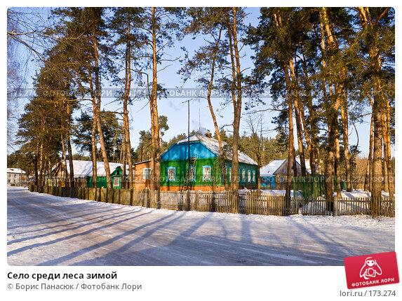 Село среди леса зимой, фото № 173274, снято 2 января 2008 г. (c) Борис Панасюк / Фотобанк Лори