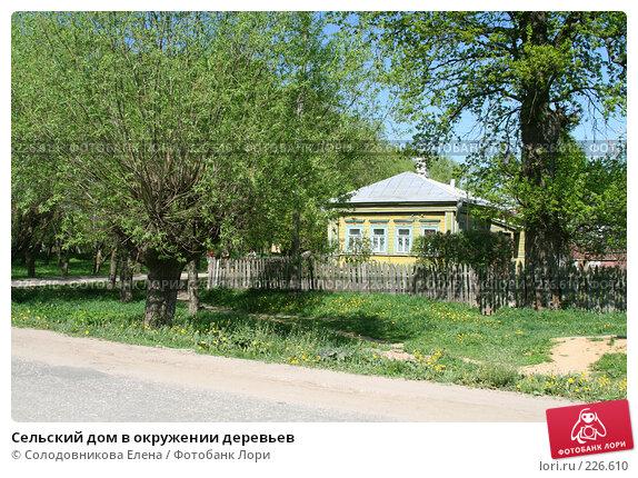 Сельский дом в окружении деревьев, эксклюзивное фото № 226610, снято 20 мая 2007 г. (c) Солодовникова Елена / Фотобанк Лори
