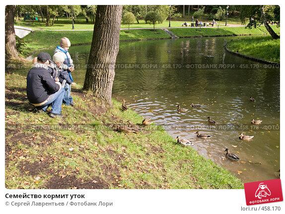 Купить «Семейство кормит уток», фото № 458170, снято 13 сентября 2008 г. (c) Сергей Лаврентьев / Фотобанк Лори
