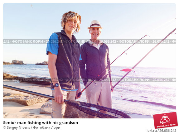 Senior man fishing with his grandson, фото № 26036242, снято 15 апреля 2015 г. (c) Sergey Nivens / Фотобанк Лори