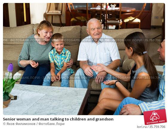 Senior woman and man talking to children and grandson. Стоковое фото, фотограф Яков Филимонов / Фотобанк Лори