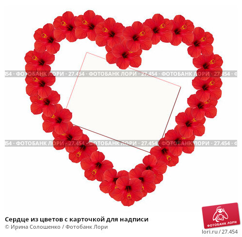 Сердце из цветов с карточкой для надписи, фото № 27454, снято 25 июня 2017 г. (c) Ирина Солошенко / Фотобанк Лори
