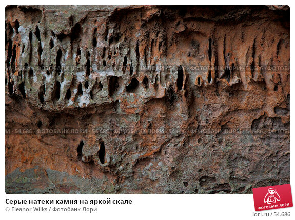 Серые натеки камня на яркой скале, фото № 54686, снято 4 июля 2007 г. (c) Eleanor Wilks / Фотобанк Лори