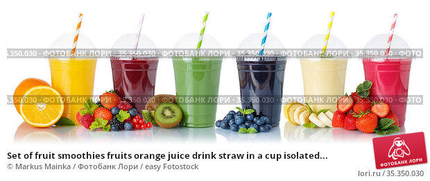 Set of fruit smoothies fruits orange juice drink straw in a cup isolated... Стоковое фото, фотограф Markus Mainka / easy Fotostock / Фотобанк Лори