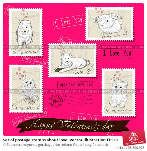 Set of postage stamps about love. Vector illustration EPS10. Стоковое фото, фотограф Zoonar.com/yunna gorskaya / easy Fotostock / Фотобанк Лори