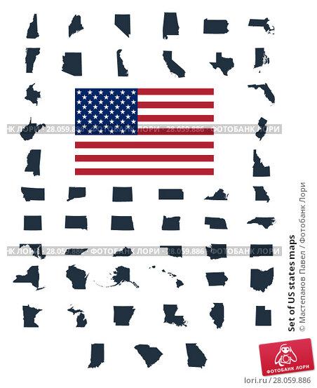 Купить «Set of US states maps», иллюстрация № 28059886 (c) Мастепанов Павел / Фотобанк Лори
