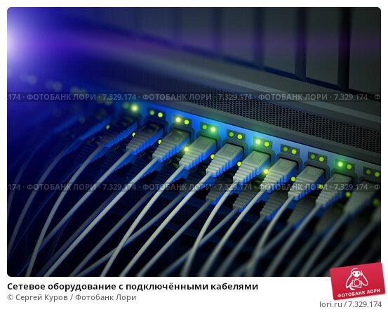 Купить «Сетевое оборудование с подключёнными кабелями», иллюстрация № 7329174 (c) Сергей Куров / Фотобанк Лори