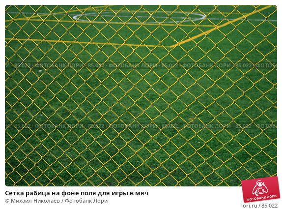 Сетка рабица на фоне поля для игры в мяч, фото № 85022, снято 8 сентября 2007 г. (c) Михаил Николаев / Фотобанк Лори