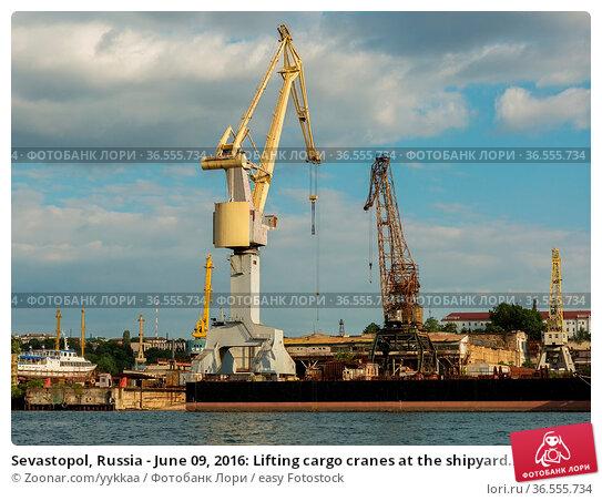 Sevastopol, Russia - June 09, 2016: Lifting cargo cranes at the shipyard... Стоковое фото, фотограф Zoonar.com/yykkaa / easy Fotostock / Фотобанк Лори