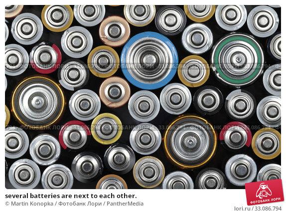 Купить «several batteries are next to each other.», фото № 33086794, снято 18 февраля 2020 г. (c) PantherMedia / Фотобанк Лори
