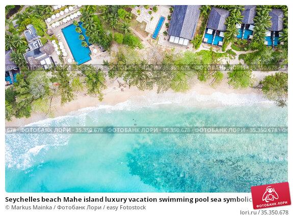 Seychelles beach Mahe island luxury vacation swimming pool sea symbolic... Стоковое фото, фотограф Markus Mainka / easy Fotostock / Фотобанк Лори