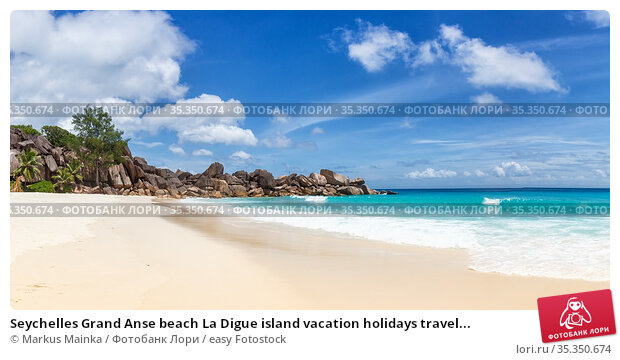 Seychelles Grand Anse beach La Digue island vacation holidays travel... Стоковое фото, фотограф Markus Mainka / easy Fotostock / Фотобанк Лори