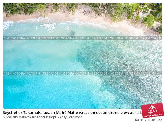 Seychelles Takamaka beach Mahé Mahe vacation ocean drone view aerial... Стоковое фото, фотограф Markus Mainka / easy Fotostock / Фотобанк Лори