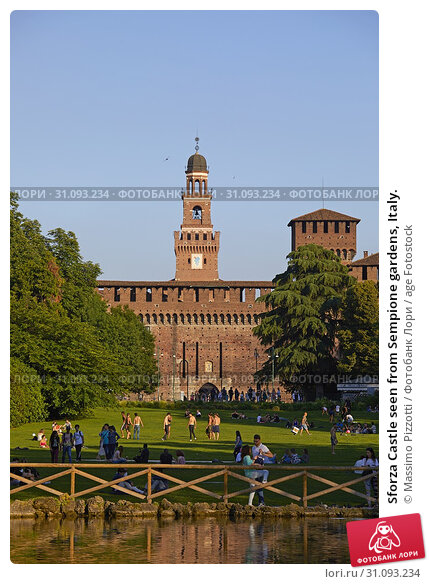 Sforza Castle seen from Sempione gardens, Italy. Стоковое фото, фотограф Massimo Pizzotti / age Fotostock / Фотобанк Лори