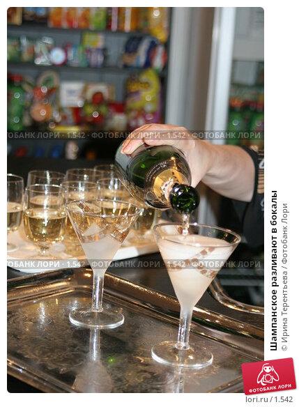 Шампанское разливают в бокалы, эксклюзивное фото № 1542, снято 8 сентября 2005 г. (c) Ирина Терентьева / Фотобанк Лори