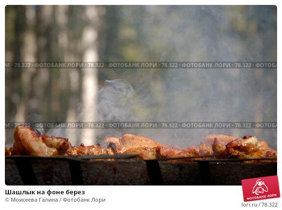 Шашлык на фоне берез, фото № 78322, снято 9 августа 2007 г. (c) Моисеева Галина / Фотобанк Лори