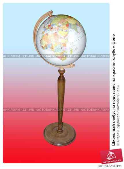 Купить «Школьный глобус на подставке на красно-голубом фоне», фото № 231498, снято 22 марта 2008 г. (c) Андрей Бурдюков / Фотобанк Лори