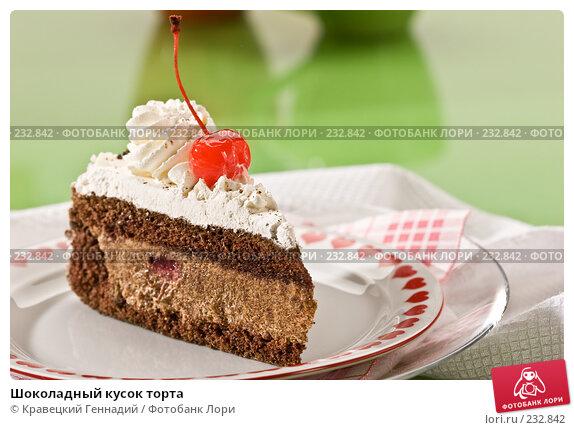 Шоколадный кусок торта, фото № 232842, снято 3 декабря 2005 г. (c) Кравецкий Геннадий / Фотобанк Лори
