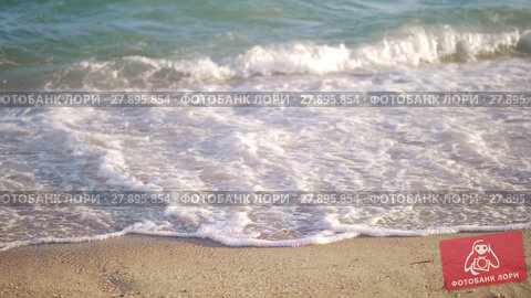 Купить «Shore and sea waves rolling in», видеоролик № 27895854, снято 26 апреля 2019 г. (c) Данил Руденко / Фотобанк Лори