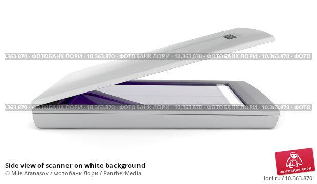 Купить «Side view of scanner on white background», фото № 10363870, снято 12 июня 2019 г. (c) PantherMedia / Фотобанк Лори