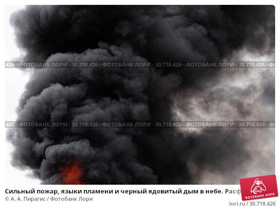 Купить «Сильный пожар, языки пламени и черный ядовитый дым в небе. Расфокусировка, размытость изображения», фото № 30718426, снято 18 апреля 2019 г. (c) А. А. Пирагис / Фотобанк Лори