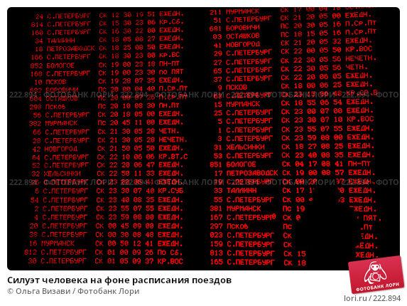 Купить «Силуэт человека на фоне расписания поездов», эксклюзивное фото № 222894, снято 6 января 2008 г. (c) Ольга Визави / Фотобанк Лори