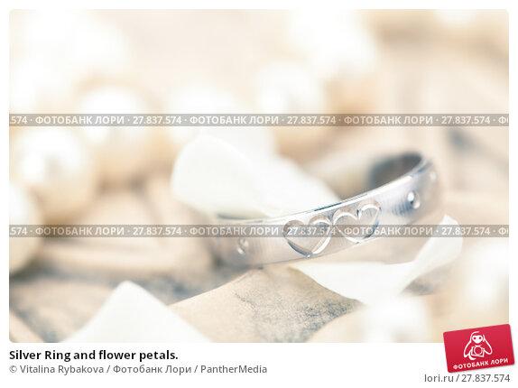 Купить «Silver Ring and flower petals.», фото № 27837574, снято 22 февраля 2018 г. (c) PantherMedia / Фотобанк Лори