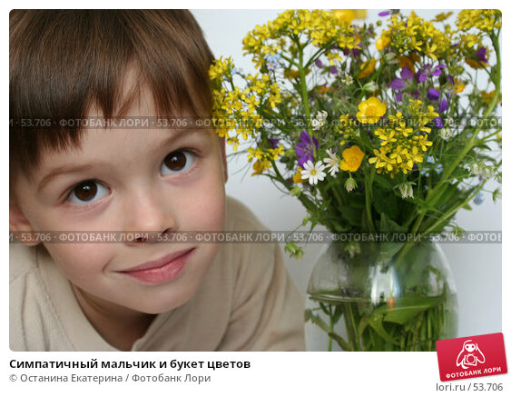 Купить «Симпатичный мальчик и букет цветов», фото № 53706, снято 7 июня 2007 г. (c) Останина Екатерина / Фотобанк Лори