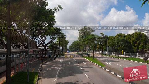Купить «Singapore road from bus», видеоролик № 29918850, снято 23 ноября 2018 г. (c) Игорь Жоров / Фотобанк Лори