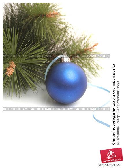 Синий новогодний шар и сосновая ветка, фото № 121658, снято 31 октября 2007 г. (c) Останина Екатерина / Фотобанк Лори