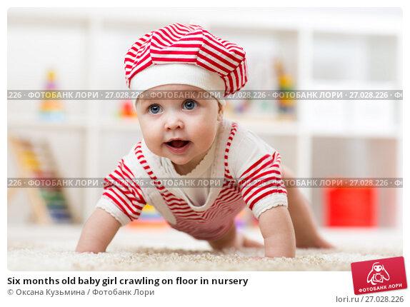 Купить «Six months old baby girl crawling on floor in nursery», фото № 27028226, снято 7 октября 2015 г. (c) Оксана Кузьмина / Фотобанк Лори