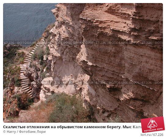 Купить «Скалистые отложения на обрывистом каменном берегу. Мыс Калиакра, Болгария», фото № 67226, снято 30 июля 2004 г. (c) Harry / Фотобанк Лори